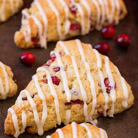 Cranberry Orange Scones with Vanilla Cream Glaze