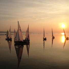West Kirby Lake by Sean Astbury - Instagram & Mobile iPhone ( calm, nofilter, sky, waterscape, sailing, sunset, reflections, sails, lake )