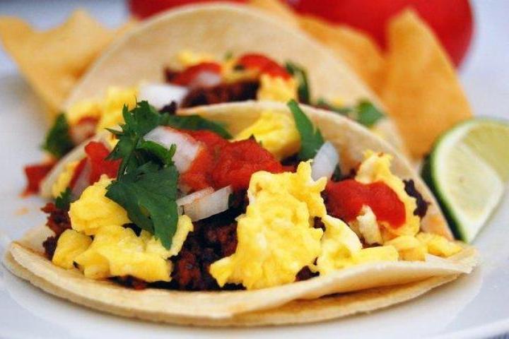 ... austrian breakfast tacos with spicy sauerkraut and summer sausage
