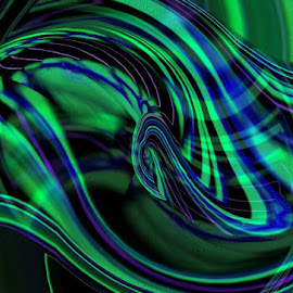 Abstract Aurora Borealis by ChrisTina Shaskus - Abstract Patterns ( heart, purple, blue, green, aurora borealis, sapphire, lines, teal, swirls, aqua, black )