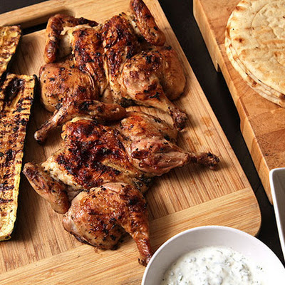 Easy Grilled Cornish Hens and Zucchini with Greek Marinade, Tzatziki, and Greek Salad