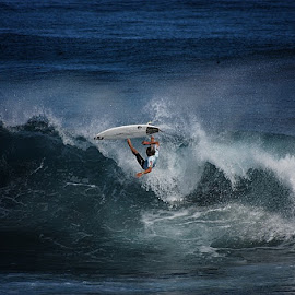 Free Fall by André Philip - Sports & Fitness Surfing ( water, blue, sports, falling, board, surf, athlete )