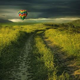 by Силвия Георгиева - Landscapes Prairies, Meadows & Fields ( field, clouds, green, summer, balloon, landscape, nikon, storm )