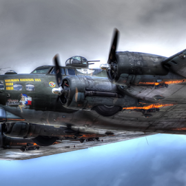 Boeing B 17 by Rick Mann - Transportation Airplanes ( clouds, flight, flying, wwii, fly, airplane, bomber, boeing, war )