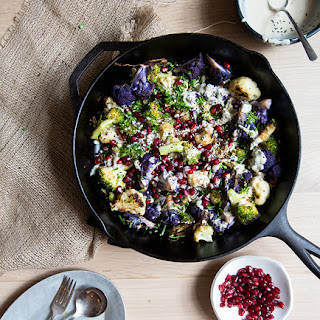 Broccoli + Cauliflower + Pomegranates With Tahini