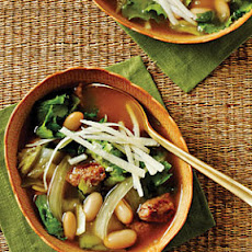 Escarole, Bean, and Sausage Soup with Parmesan Cheese