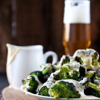 Roasted Broccoli with Beer Cheese Sauce