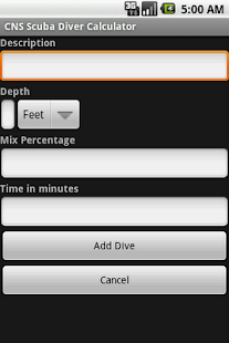 CNS Scuba Diver Calculator - screenshot