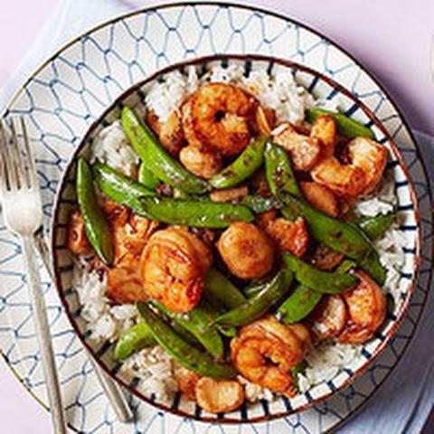 Sugar Snap Peas Shrimp and Quinoa Stir Fry Recipe | Yummly