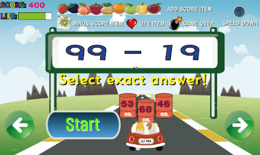 Racing Subtraction - screenshot