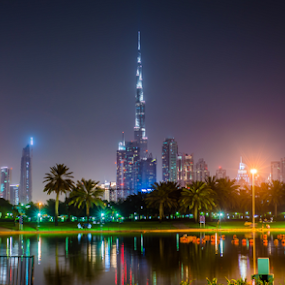 Burj Khalifa from Safa Park by Aamir Munir - City,  Street & Park  Night