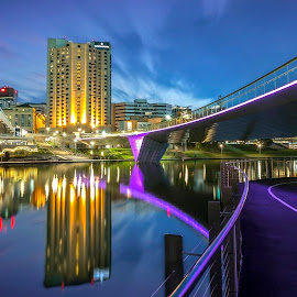 Adelaide City by Shannon Rogers - City,  Street & Park  Skylines ( shannon rogers photography, canon, water reflections, reflections, cityscape, yellow, landscape, 5d mark iii, city, lights, sky, digital art, city lights, pink, long exposure, night sky, south australia, highrise, building, peaceful, shannon rogers, green, twilight, adelaide, adelaide city, adelaide south australia, blue, sa, australia, pgotogra[hy, night, bridge, river )