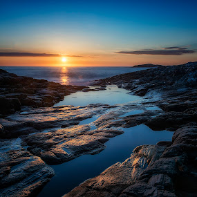 Sunset II by Janne Monsen - Landscapes Sunsets & Sunrises ( sunset, weather, rocks, sun, norway, relax, tranquil, relaxing, tranquility )