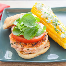 Salmon Burgers & Corn on the Cob with Basil Butter