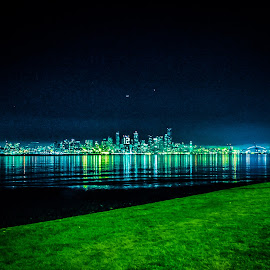 Seattle in Seahawks Glow by Olivia Valdes - City,  Street & Park  Skylines ( washington, skyline, space needle, superbowl, seattle, seahawks, nighttime, night, 12th man, century link, waterfront, city,  )