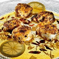 Monkfish with a Lemon Pepper Crust and a Warm Lemon Anchovy Vinaigrette