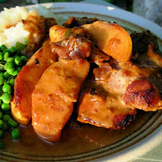 Pan Fried Pork Chops With Glazed Apples, Cider and Cream Sauce