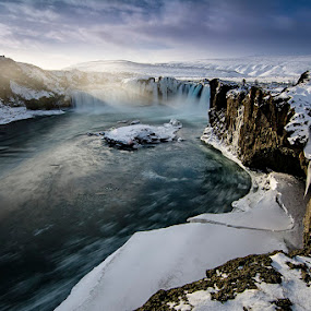 Godafoss by Ivan Bertusi - Landscapes Waterscapes ( islanda aurora 2015 natura polo nothern lights )