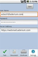Screenshot of Aderium Companion for Zimbra