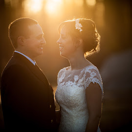 Bride & Groom Warm Light by Mike DeMicco - Wedding Bride & Groom ( love, warm light, sunset, wedding, couple, bride, light, groom )