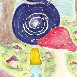 Into the Vortex by Leona St.Louis - Painting All Painting ( pen, watercolor, alice in wonderland, psychedelic, mushrooms )