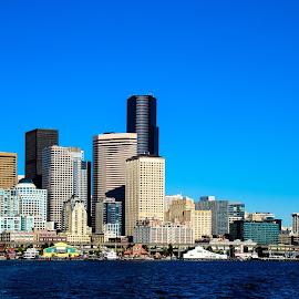 Seattle, WA by Judy Rosanno - City,  Street & Park  Skylines ( washington, skyline, seaport, seattle, city,  )