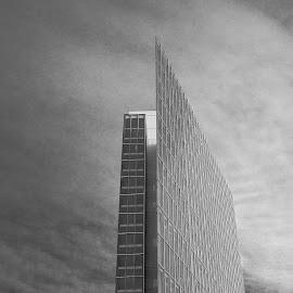 Razer blade by Johannes Oehl - Buildings & Architecture Office Buildings & Hotels ( clouds, monochrome, europe, skyscraper, stuttgart, germany, office building )