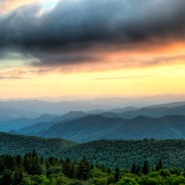 Cowee Muuntains Overlook Sunset by Steven Faucette - Landscapes Mountains & Hills ( mountain, sunset, cowee, blue ridge, north carolina )