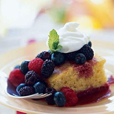 Sweet Corn Bread with Mixed Berries and Berry Coulis