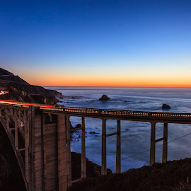 Bixby bridge by Bruce Nguyen - Buildings & Architecture Bridges & Suspended Structures ( bixby bridge, big sur, sunset, beach, highway 1 )