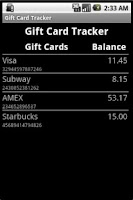 Screenshot of Gift Card Tracker