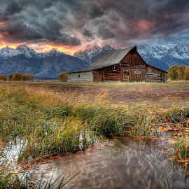 Teton Nightfire by Ryan Smith - Buildings & Architecture Decaying & Abandoned ( night fire, sunset, mormon row, tetons, moulton barn )