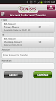 Screenshot of Genisys Mobile Banking