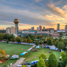 Downtown Knoxville at Sunrise by R Jay Prusik - City,  Street & Park  Skylines ( skyline, knoxville, tennessee, sunrise, downtown, worlds fair park )