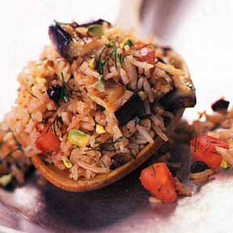 Eggplant Pilaf with Pistachios and Cinnamon