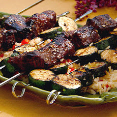 Grilled Asian Beef Kebabs over Rice