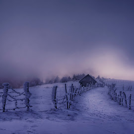Blowing with the wind by Mihail Dulu - Landscapes Mountains & Hills ( wind, winter, cold, snow, house )