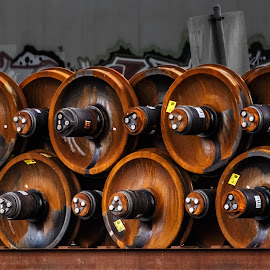 Wheels by Steve Kazemir - Transportation Other ( trucks, orange, wheels, train, round, rust )