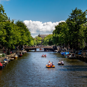 Amsterdam Canal by Jamerson Rodrigues de Melo - City,  Street & Park  Historic Districts ( water, sky, lifestyle, trees, amsterdam, cityscape, boat, canal, netherlands, river,  )