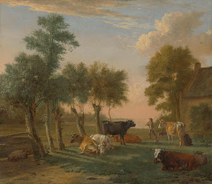 RIJKS: Paulus Potter: Cows in a Meadow near a Farm 1653