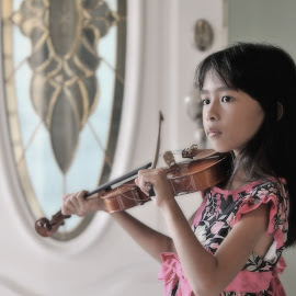 Girl with violin by Hussin Mohd Nor - Babies & Children Child Portraits