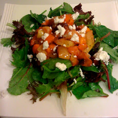 Green Salad With Roasted Apple, Beet And Carrots With Sherry Thyme Vinaigrette