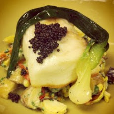 Poached Halibut with Baby Potato Salad Recipe