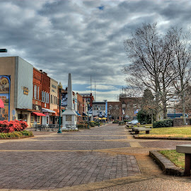 Downtown Hickory by Tony Moore - Buildings & Architecture Other Exteriors ( clouds, daytime, hdr, union square, colors, street, old fashioned, downtown )