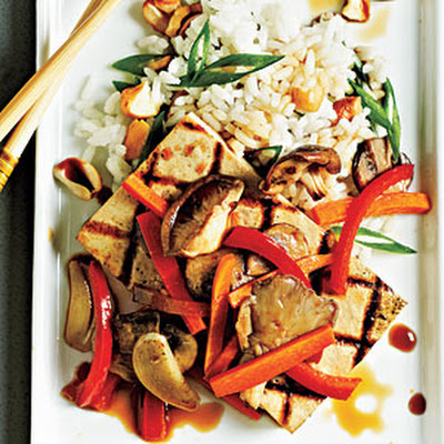 Tofu Steaks with Shiitakes and Veggies