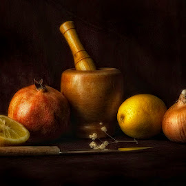 Nature Morte by George Petridis - Artistic Objects Still Life ( pomegranate, soft focus, colors, still life, low light, knife, onion, classic, lemon )