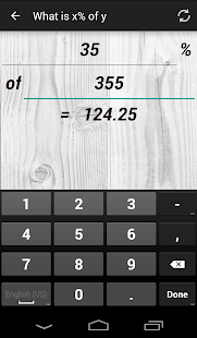 Calculation of percentages - screenshot