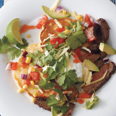 Skirt Steak With Corn Cakes