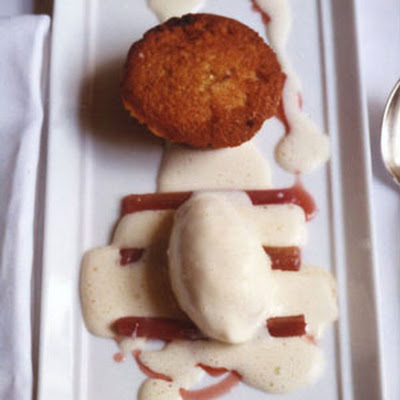 Rhubarb Financiers with Vanilla Ice Cream and Poached Rhubarb