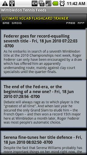 Wimbledon Tennis Feeds RSS